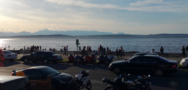 View of the beach from Alki Surf Shop, April 2015
